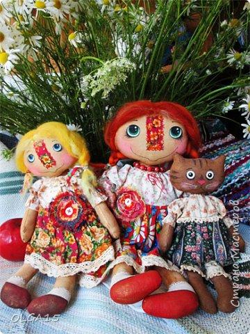 Куклы были сшиты давно и  только сейчас я их окончательно доделала. Куколки тонированы кофе и корицей, лицо нарисовано красками. фото 2