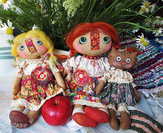 Куклы были сшиты давно и  только сейчас я их окончательно доделала. Куколки тонированы кофе и корицей, лицо нарисовано красками. фото 1