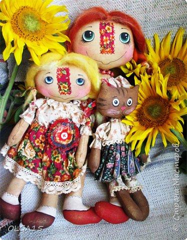 Куклы были сшиты давно и  только сейчас я их окончательно доделала. Куколки тонированы кофе и корицей, лицо нарисовано красками. фото 4