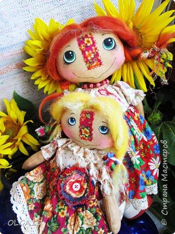 Куклы были сшиты давно и  только сейчас я их окончательно доделала. Куколки тонированы кофе и корицей, лицо нарисовано красками. фото 7