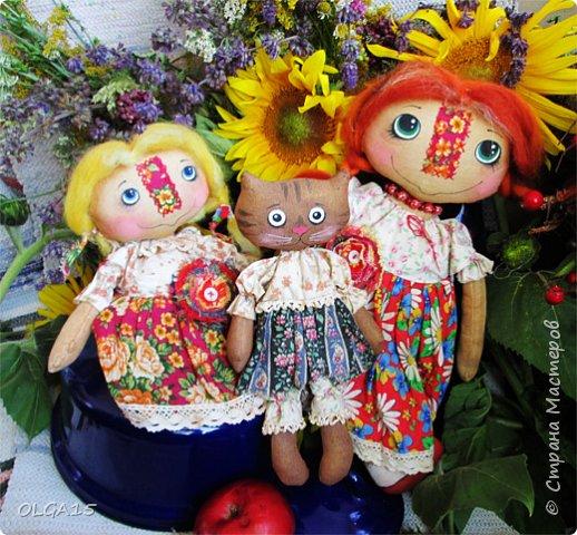 Куклы были сшиты давно и  только сейчас я их окончательно доделала. Куколки тонированы кофе и корицей, лицо нарисовано красками. фото 8