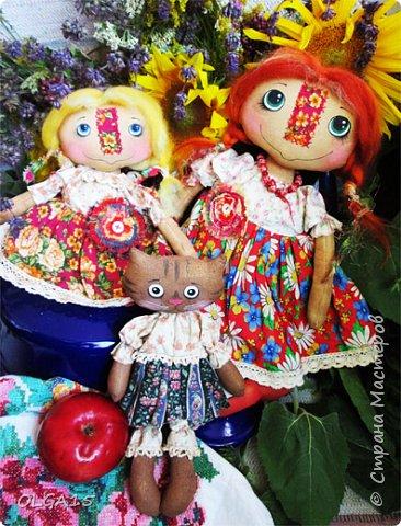 Куклы были сшиты давно и  только сейчас я их окончательно доделала. Куколки тонированы кофе и корицей, лицо нарисовано красками. фото 9