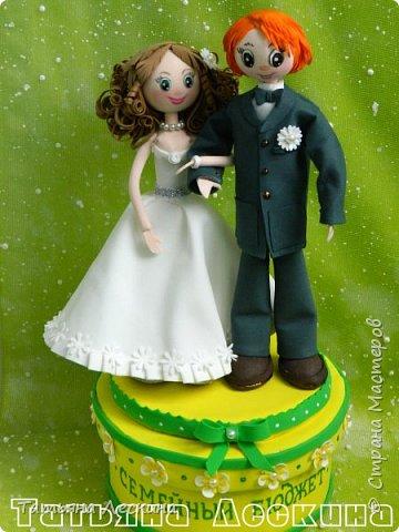 Недавно произошло радостное событие- мой двоюродный брат, пару месяцев назад отметивший своё 30-летие, женился. Я решила подарить молодым на свадьбу запоминающийся подарок, который к тому же можно будет применять в дальнейшей жизни. Сразу пришла мысль сделать шкатулку для денег. А если свадьба- то обязательно жених и невеста. Вдохновение не заставило себя долго ждать, и процесс пошёл. фото 1