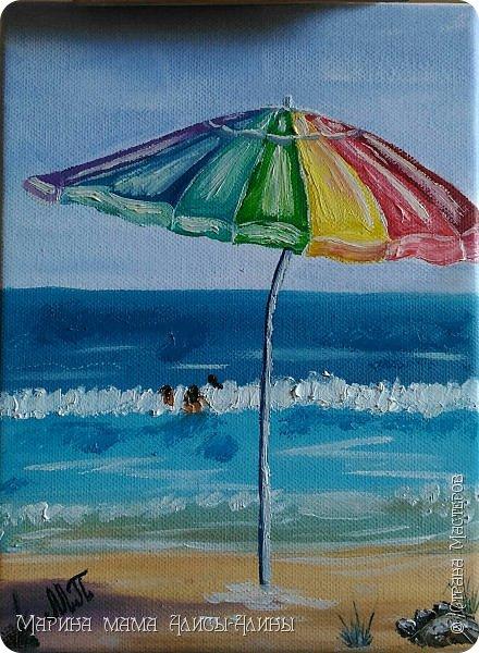 """Картина маслом """"Зонтик на пляже"""" Мечтала о море... Мечты сбываются)) фото 1"""