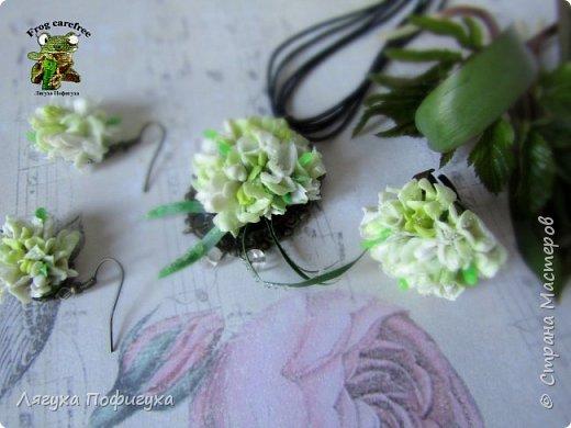 Серьги, кольцо и подвеска с нежнейшими бутонами,почками и листиками, на которых капельки росы.  фото 1