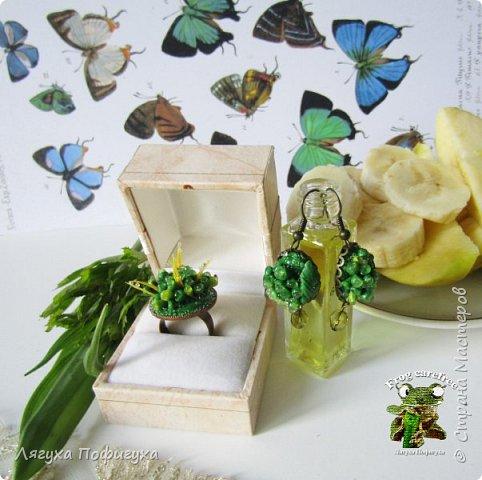 """кольцо, серьги, брошь с листиками """"Зелень"""" фото 2"""