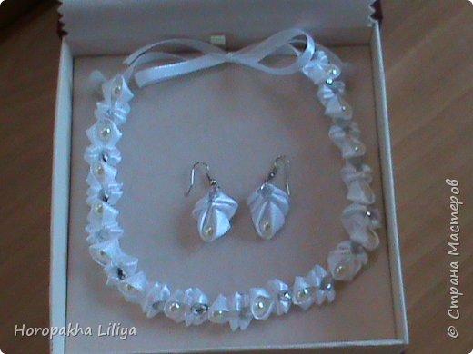 Ожерелье с серьгами в стиле канзаши для наших принцесс фото 2