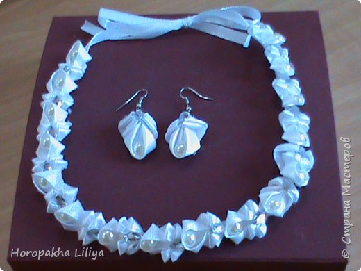 Ожерелье с серьгами в стиле канзаши для наших принцесс фото 1