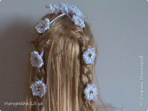 Нарядная лента в косу с необычными ромашками канзаши к 1 сентября и не только фото 3
