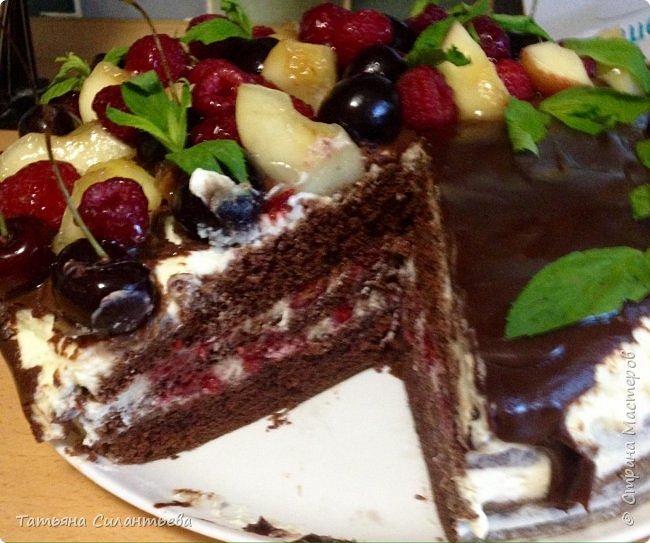 Два тортика сделаны по одному рецепту. Разное украшение, но вкус бесподобный! Шоколадный бисквит, пропитка малиновым сиропом, крем из маскарпоне и сливок, полит шоколадным ганашем, украшение - мята, фрукты (малина, смородина красная и черная).    фото 4