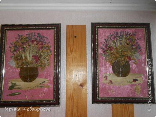 """Сделала на заказ несколько картин. Первая - """"Райские птички"""". Размер 40х50см. Основа- тёмно-синий шёлк. Перья павлина в качестве травы на заднем фоне и в самих птичках. Внизу картины - лепестки роз, листья барбариса для разноцветья. Фото сделано без стекла. фото 4"""