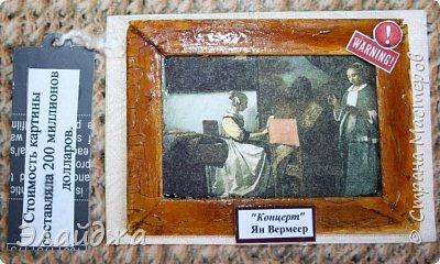 Привет Всем, всем! В промежутках между нашей игрой организованной Оксаной(Oksana Gordey). (http://stranamasterov.ru/node/1099648#comment-14782622)  у меня получились вот такие карточки. Они необычны. Насмотревшись работ и  умений в распилке древесины для всякой красоты  у Taniy78 (обалденные ее работы можно посмотреть на ее страничке, она живет тут (http://stranamasterov.ru/user/390083) я решила тоже взять резак в руки и использовать собранные палочки от мороженного с делом. (в такую жару мы столько мороженного извели!!!) Серия АТС Анна Пудовкина (http://stranamasterov.ru/node/1103657?tid=1743) и  Вереск (http://stranamasterov.ru/node/1104434?tid=1743)вдохновила на создание этой серии. Данные карточки-это репродукция картин, которые были похищены и  находятся в розыске.  Распечатка репродукций на  акварельной бумаге  для художников, рамка  состарена - двушаговый кракелюр. Цвет самой рамки тонирован морилкой сосна и моренный дуб .  рядом находится бирочка, где написано дата похищения картины и на обратной стороне ее ориентировочная стоимость. Сам фон текстильный, рифленый . Вроде на стене висит картина.... Ну кому нужны картины стоимостью в несколько миллионов долларов??? Выбираем:  фото 9