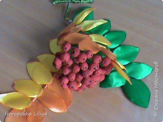 Осенняя гроздь рябины в стиле канзаши своими руками фото 2