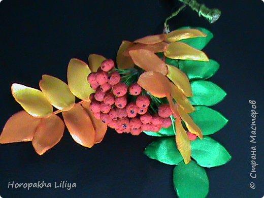 Осенняя гроздь рябины в стиле канзаши своими руками фото 1
