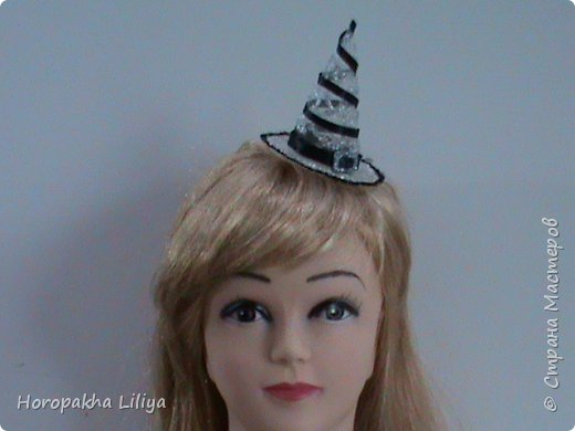 Хеллоуинский колпачок для ведьмочки на заколочке фото 2