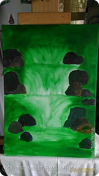 После поездки в Краснодарский край написала такой водопад. Холст на картоне, масло. фото 2