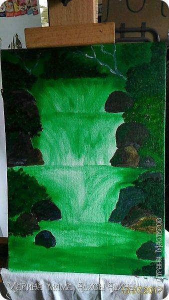 После поездки в Краснодарский край написала такой водопад. Холст на картоне, масло. фото 3