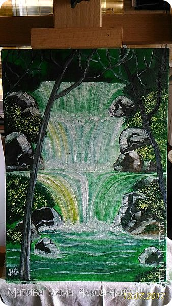 После поездки в Краснодарский край написала такой водопад. Холст на картоне, масло. фото 1