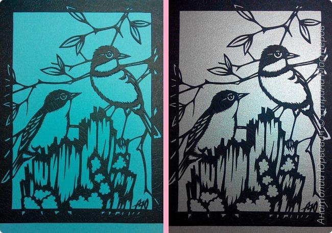 """Всем доброго времени суток! Вашему вниманию новая открытка с птичками. - Золотобрюхая зарянковая мухоловка (Eopsaltria australis) — это вид из семейства Австралийские зарянки, обитающий на в прибрежных районах восточной Австралии. -  Как и все австралийские мухоловки, предпочитает густые леса, дающие много тени. Охотится, сидя на стволе дерева, проводе или низко расположенной ветке и ловя пролетающих мимо насекомых. Питается в основном насекомыми, но также и другими мелкими беспозвоночными. -  Гнездится - как и многие другие австралийские птицы - обычно колониями. Гнездо - аккуратная чашечка, сплетённая из тонких растительных волокон и паутины - обычно располагается в развилке веток и великолепно замаскировано с помощью лишайников, мха, древесной коры и листьев. -  Эскиз для """"вырезалки"""" выполнен, изменён и доработан по цветной работе австралийского художника анималиста Eric shepherd. -  Размер открытки 12х16см. (как всегда:)) фото 11"""