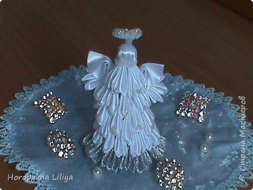 Рождественский ангелочек из веерных лепестков канзаши фото 1