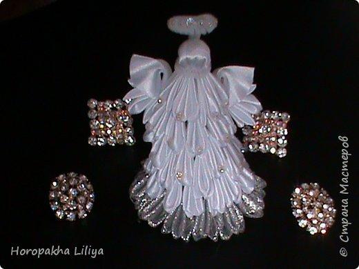 Рождественский ангелочек из веерных лепестков канзаши фото 2