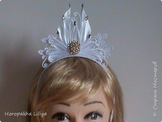 Диадема в стиле канзаши  для снежной королевы фото 2