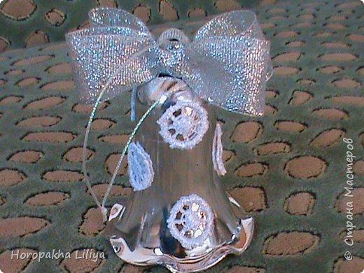 Новогодние колокольчики в стиле канзаши фото 5