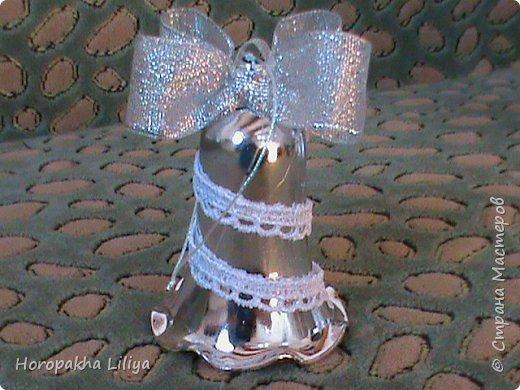 Новогодние колокольчики в стиле канзаши фото 8