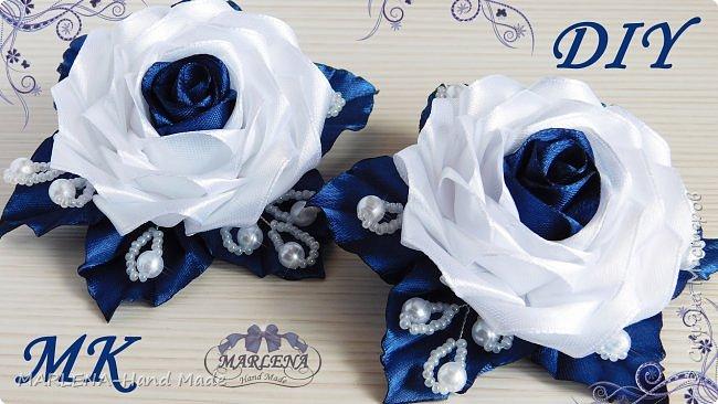 Роза канзаши. Нарядные школьные резиночки. МК/DIY фото 1