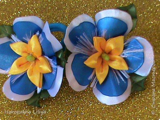 Резиночки с экзотическим цветочком для девочек в стиле канзаши фото 1