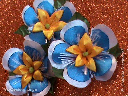 Резиночки с экзотическим цветочком для девочек в стиле канзаши фото 2