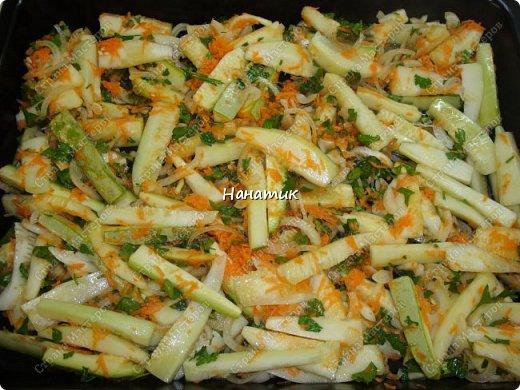 Добрый день! Делюсь рецептом кабачков в духовке. Кабачки получаются сочные.  -кабачок 4шт -морковь 2шт -чеснок 3 зубчика -лук 3шт -масло растит. несколько ст.л. -соль по вкусу -зелень петрушки 50г -помидоры 7шт  фото 10