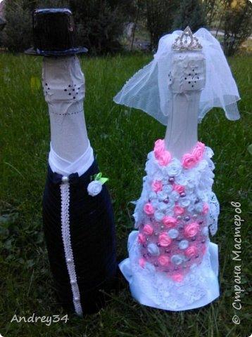 Вот такое свадебное лебединое озеро сделал бабушке с дедушкой на юбилей свадьбы!  30 лет вместе!  Работа выполнена в технике Цумами (канзаши) фото 4