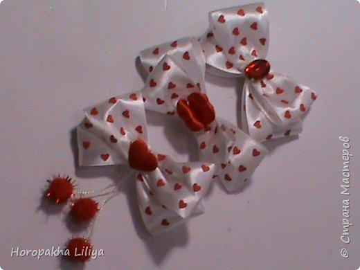 Броши-бантики  ко дню Св. Валентина в стиле канзаши