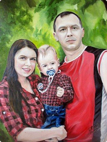 Семейный портрет. Масло, холст на подрамнике. Формат 40*50.  фото 1