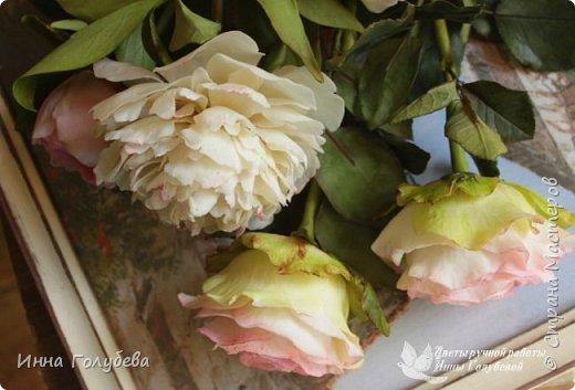 Букет из роз и пионов.Холодный фарфор. фото 2