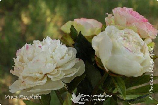 Букет из роз и пионов.Холодный фарфор. фото 6