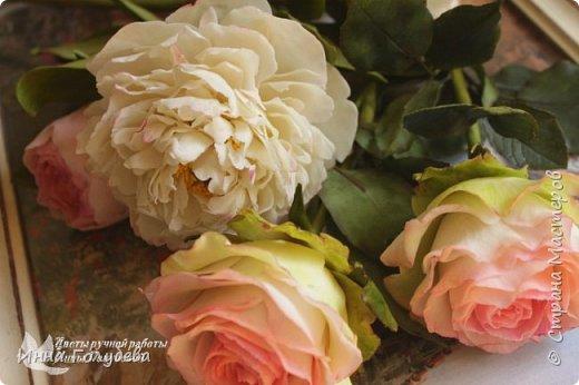 Букет из роз и пионов.Холодный фарфор. фото 8