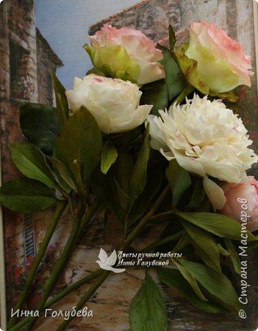 Букет из роз и пионов.Холодный фарфор. фото 5