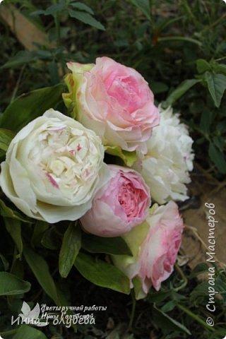 Букет из роз и пионов.Холодный фарфор. фото 3