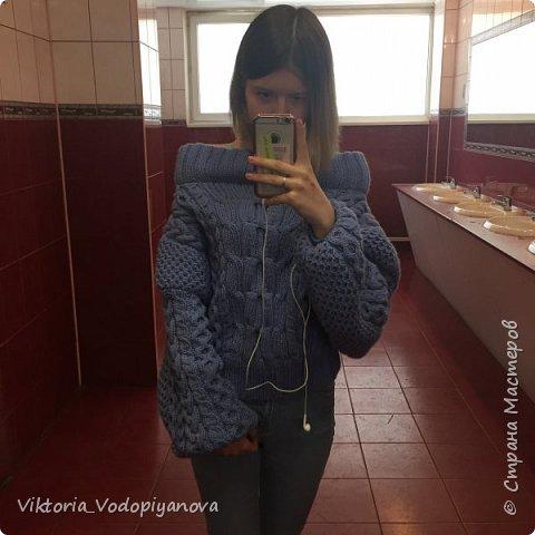 Совсем недавно довязала свой свитер рубан. На удивление получился очень мягким и тёплым фото 2