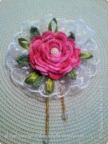 Вязаные розы фото 5