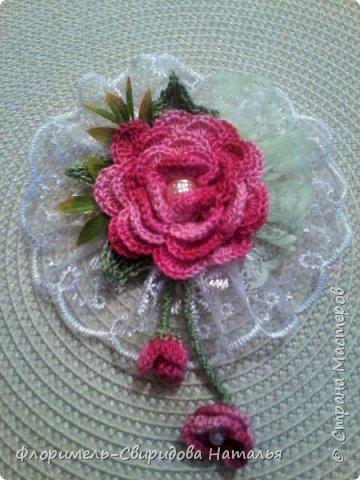 Вязаные розы фото 4