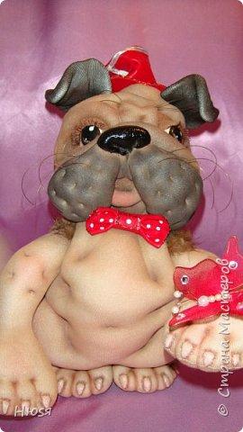 """Кукла- Пёсик (2), выполнена в технике """"скульптурный текстиль"""". Материал: капрон, синтепон . Передние лапки на каркасной основе- принимают любое положение. Размер: 28 см . фото 6"""