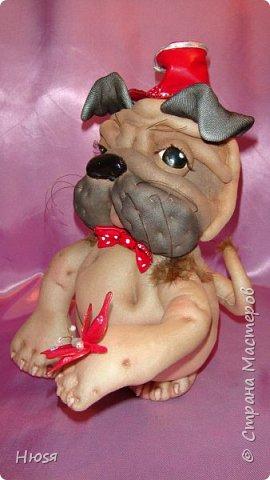 """Кукла- Пёсик (2), выполнена в технике """"скульптурный текстиль"""". Материал: капрон, синтепон . Передние лапки на каркасной основе- принимают любое положение. Размер: 28 см . фото 12"""