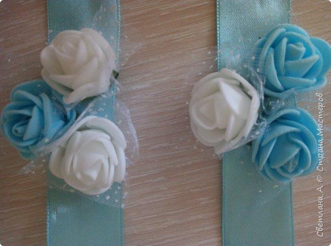 Свадьба была в голубых тонах. Вот такой небольшой наборчик получился. Подушечка для колец. фото 6