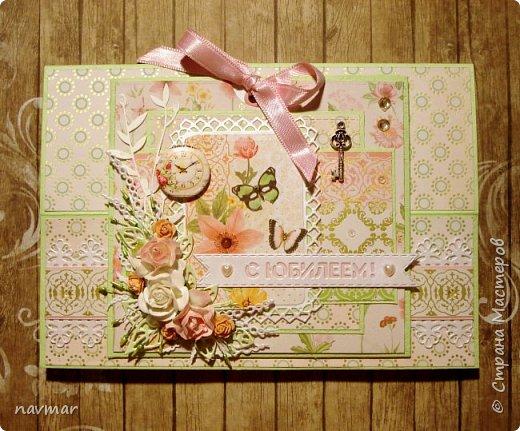 Здравствуйте, друзья! Вот такая открытка у меня сложилась к юбилею одной милой женщины. фото 2