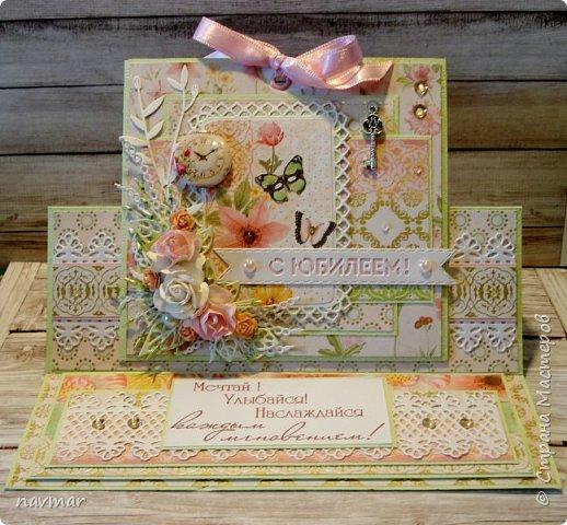 Здравствуйте, друзья! Вот такая открытка у меня сложилась к юбилею одной милой женщины. фото 1
