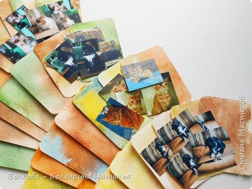 """Всем привет!    Для начала разъясню, что такое STC. Это всё та же ATC (""""эй-ти-си"""" или как часто по-русски говорят """"а-тэ-эс"""", расшифровывается как Artist Trading Card (англ. обменная карточка художника), только вместо """"Artist"""" (художник) у меня """"Scrapbooker"""" (скрапбукер). Вот такая дерзость с моей стороны - взять да подредаХтировать название:) Таки привязалась я к этому слову """"Artist"""":) Казалось бы, ну зачем? Традиция делать эти карточки пошла от художников да стоило ли переиначивать под скраперов?:) Да кто знает - с одной стороны нет, ибо """"художник"""" понятие растяжимое и в какой-то степени мы, скраперы, тоже художники:); с другой стороны - можно ведь и уточнить в какой именно области художественности эти самые карточки:)     Скраперские визитные обменные карточки, тобишь STC (""""эc-ти-си"""" или по-русски """"эс-тэ-эс"""" или """"сэ-тэ-эс"""") я делала впервые. По правде сказать, я раньше не понимала для чего делать эти милипуськи, они же не практичны. Это ведь не альбом:) А тут вдруг прониклась темой АТС. Стала читать статьи, заметки, по блогам смотреть кто и какие карточки делал и делает.      И у многих, кто делал их впервые (я имею в виду тех, кто в скрапе давненько, а АТС так ещё и не скрапил) видела фразу вроде """"наконец-то я созрела/доросла до АТС"""". Вот-вот, и я про себя то же самое могу сказать, хотя до этого считала, что именно с них то по идее и должен у большинства начинаться скрап-опыт. Вроде бы, это всего лишь малюсенькие карточки, намного меньше открыток, что их делать плёвое дело. Однако, нет. До них оказывается и правда нужно созреть:) Причём - не знаю как у других - для меня это созреть морально прежде всего. Так, чтоб накрыло вдохновение их сделать.     В итоге я замахнулась разом на 30 (!!!!) карточек, хотя знаю, что обычно их в серии бывает в среднем 3-5 (ну до 10 наверное), но, как говорится, гулять так гулять. фото 81"""