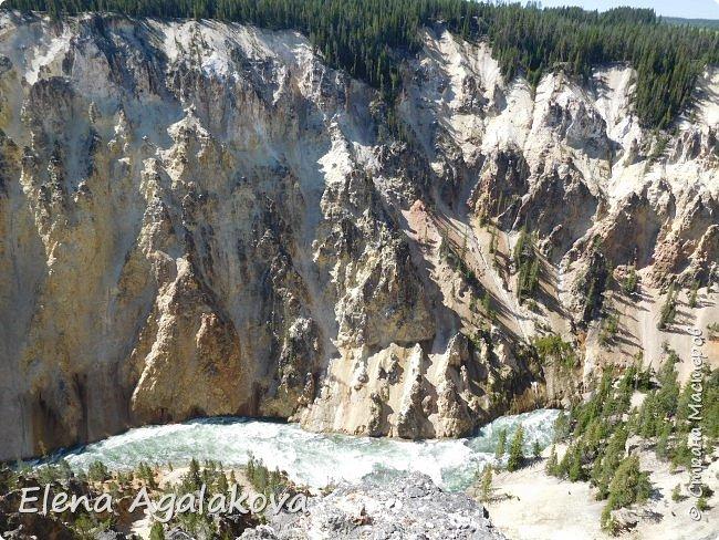 Продолжаю делится впечатлениями от поездки в Йе́ллоустон (Yellowstone National Park)— международный биосферный заповедник, объект Всемирного Наследия ЮНЕСКО, первый в мире национальный парк (основан 1 марта 1872 года). Находится в США, на территории штатов Вайоминг, Монтана и Айдахо. Парк знаменит многочисленными гейзерами и другими геотермическими объектами, богатой живой природой, живописными ландшафтами. ( взято из Википедии ) Мы останавливались в кемпингах в палатках. Парк произвел на нас огромное впечатление. Очень хочется поделится с вами красотой которую я увидела. В один фоторепортаж трудно вместить все увиденное поэтому это уже пятый и будут еще... В этот раз я покажу фото Большого каньона парка Йеллоустон.  Жалко что при загрузке фото уменьшаются и теряется качество поэтому смотрятся картинки плоско... но с этим я ничего поделать не могу. фото 9